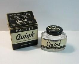 Vintage Parker Quink w/Solv-X  Empty Embossed Parker 2 oz  Ink Bottle - U.S.A. - $13.99