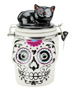 Day of the Dead Skull and Cat Canister Jar - $10.99