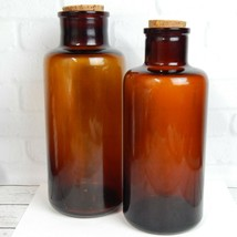 "Vintage Set of 2 Amber Brown Glass Round Wide Neck Bottles Corks 10.5"" 1... - $22.99"