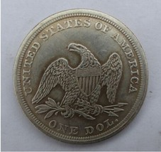 1854-p SEATED LIBERTY SILVER DOLLARS brass one dollar  - $7.00