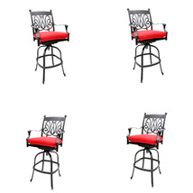 5 piece bar set outdoor cast aluminum swivel stools and table Desert Bronze. image 2