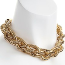 Fashion jewellery chunky four row gold colour plaited woven choker necklace - $12.14