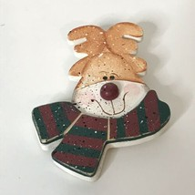 "Handmade Reindeer Brooch Wearing Scarf Approximately 3.5"" - $24.75"