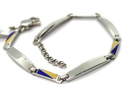 925 STERLING SILVER BRACELET, ALTERNATE OVAL PLATES AND GLAZED NAUTICAL FLAGS