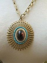 VTG ART Pendant Necklace Gold Foil Cab Turquoise Bead Antiqued Chain Gol... - $44.54
