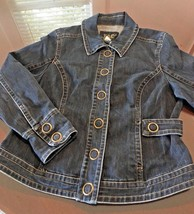 LAL live a little Womens Jean Jacket CLASSY LARGE - $25.19