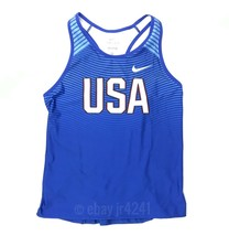 Nike Women's M Team USA Digital Race Day Tight Tank Track and Field Blue 835981 - $18.22