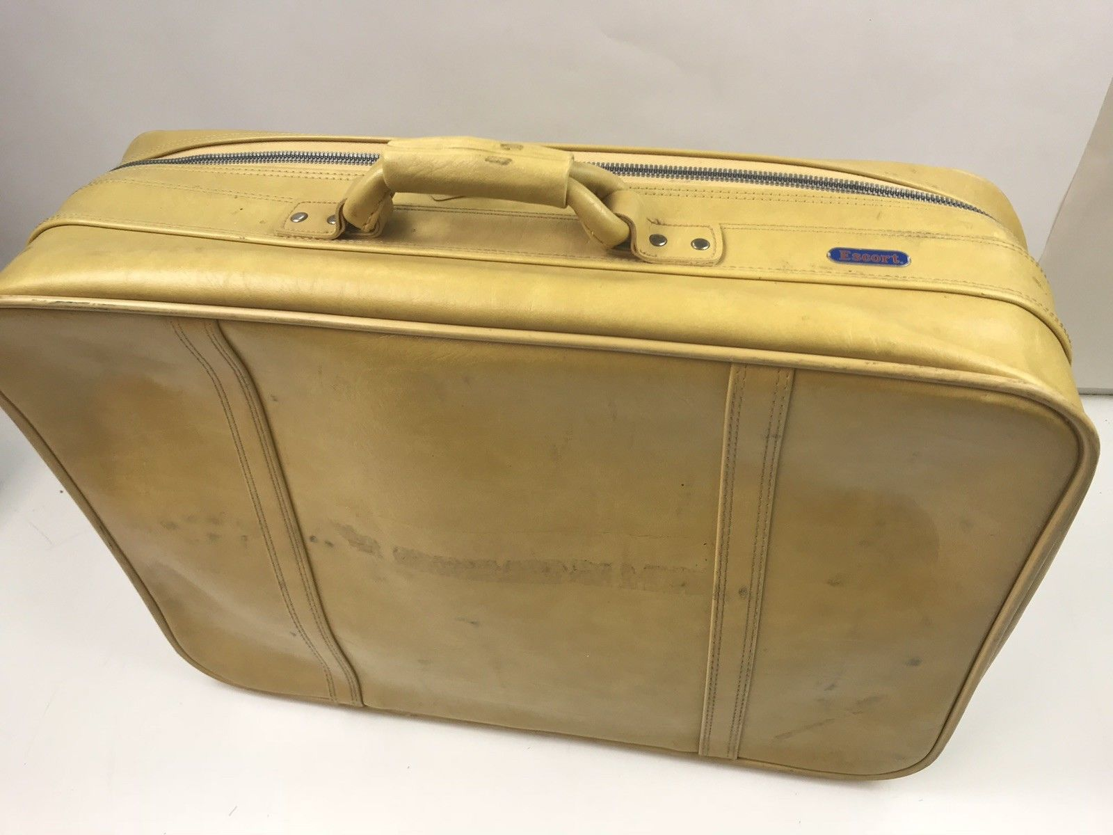 "Vintage Escort Suitcase Luggage Travel Carry On Bag Yellow Mustard 24"" x 17.5"""