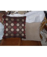 Pair of Brown Beige Dot Print Pillows / Throw Pillows  20 x 20 - $59.95