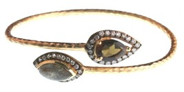 New Blossom Box Gold Labradorite & Smokey Topaz and CZ Bangle Bracelet NWT