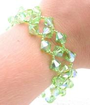 VTG Gold Tone Green Aurora Borealis Crystal Clasp Bracelet - $29.70