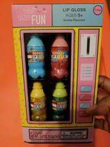Bite Size Fun Set of 4 Pop Bottle Lip Glosses Vending Machine Box Vanilla - $4.90