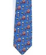 Men's Necktie British Double Decker Phone Booth Busby Blue 100% Silk - $18.71