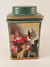 Vintage Coca Cola Lidded Stoneware Canister with Santa and Children - $18.46