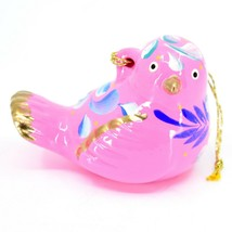 Handcrafted Painted Ceramic Pink Songbird Confetti Ornament Made in Peru