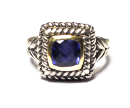 Helzberg 10k Sterling Silver Square Blue Sapphire Braided Woven Ring 14m... - $71.27