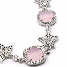 Necklace Silver 925, Stars and Squares, Pink Quartz, Zircon by Maria Ielpo image 3