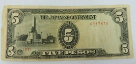 BANKNOTE Japanese Government 5 Pesos Paper Money Currency - $10.00