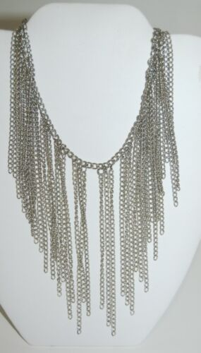Silver Color Chain Multi Strand Necklace Lobster Claw Clasp