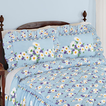 Daisy Bloom Floral Ruffle Pillow Sham, Blue - $11.45