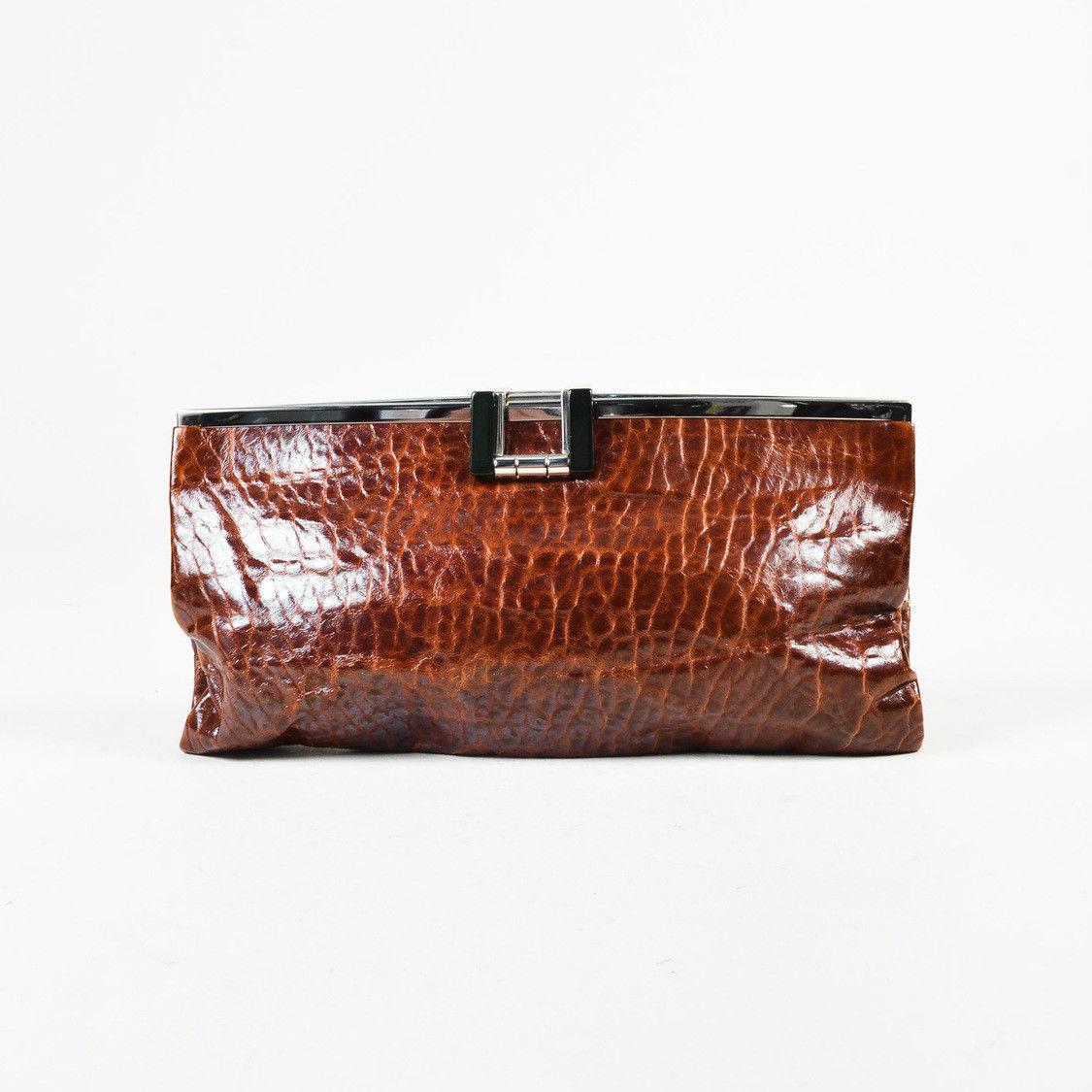 423d1a4c1d6c41 Marni Brown Leather Frame Clutch Bag - $175.00