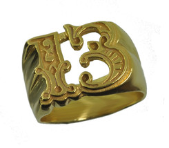 Friday the Number # 13 Thirteen Gold plated on Sterling silver ring pick... - $53.49
