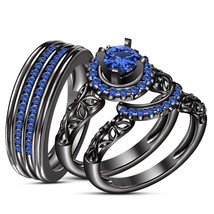 Blue Sapphire Black Gold Over 925 Silver His & Her Wedding Band Ring Tri... - $168.98