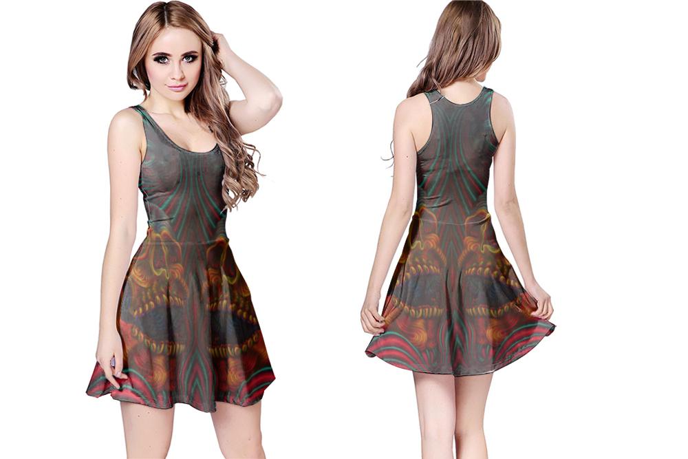 Dmt skull crystal reversible dress