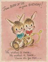 Vintage Birthday Card Bunny Rabbits with Wishbones Gibson 1950's - $8.90