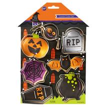 Wilton Halloween Haunted House Metal Cookie Cutters Set 7 Pieces Pumpkin Bat Web - $7.91