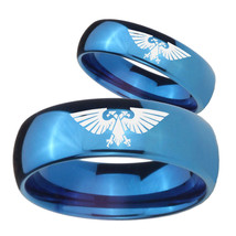 Bride and Groom Aquila Mirror Blue Dome Tungsten Rings Set - $69.98