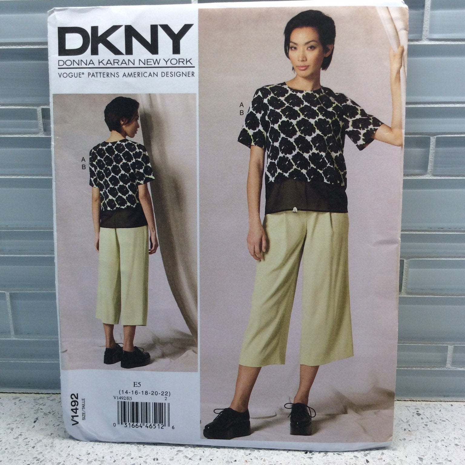Vogue Sewing Pattern DKNY Donna Karan V1492 E5 14 16 18 20 22 Loose Fitted Top a