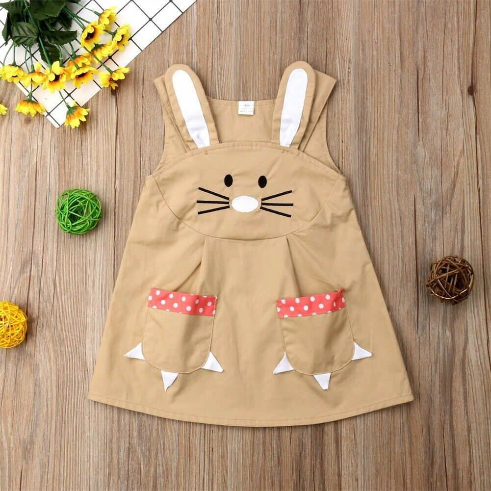 Primary image for NWT Girls Easter Bunny Rabbit Sleeveless Dress 18 M 2T 3T 4T