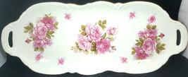 Andrea By Sadek Serving Platter Plate Dish Oblong Rose Bouquet Pattern 16x6 - $16.82