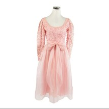 Light pink DOMINIC ROMPOLLO long sleeve sheer overlay vintage dress XS - $129.99