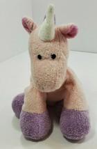 "2007 ty pluffies pink purple castles unicorn plush beanie baby 9"" tall  - $38.69"