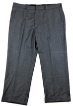 Tommy Hilfiger Mens Wool Dress Pants Fits 42 x 27 Gray Flat Front Cuffed - $38.78