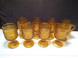 8 Tiara Amber Sandwich Glass Footed Mugs ~~ Indiana Glass - $49.95