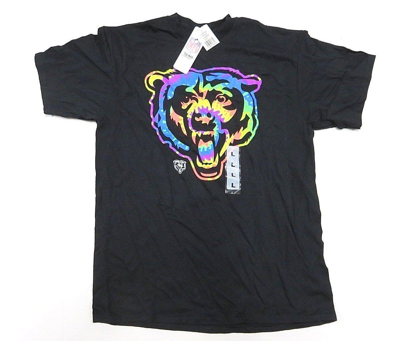 NWT NFL Team Apparel Chicago Bears Black w/ Rainbow Graphic T-Shirt Men's Size L