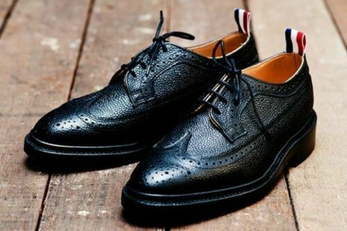 Handmade Men's Black Wing Tip Brogues Lace Up Dress/Formal Leather Shoes