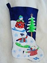 "Feltworks Handmade Finished 18"" Winter Games Christmas Stocking  - $118.00"