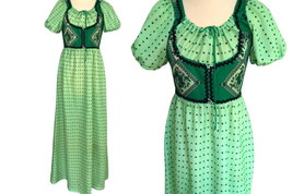 60s Green Farmhouse Country Girl Folk Inspired Boho Maxi Dress, Puff Sle... - $36.00