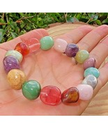 "1 Multi stone Stretchy Quartz Pebble Bracelet 10 mm Reiki Heart Chakra 7.5"" - $18.81"