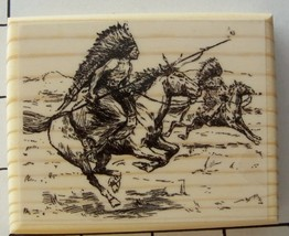 Indians On Warpath New Mounted Rubber Stamp - $10.00