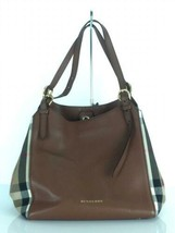BURBERRY canter tote bag check brown color leather material used - $554.39
