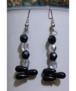 Penguin Foot Dangle Earrings Black and Faceted Sparkly - $15.00