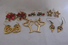 Lot of Christmas/Holiday Pierced Earrings - Rhinestones, Enameling, Faux... - $10.99