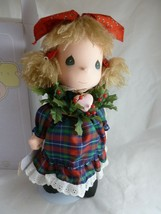 """Precious Moments Vintage 1997 Christmas Doll 14"""" Holly cloth face and body - $34.64"""