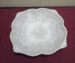 Vintage Milk Glass Bowl with Grapes - $9.95