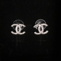 Authentic Chanel CC Logo Crystal Strass Silver Classic Stud Earrings